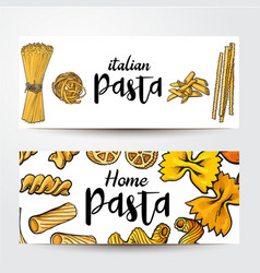banners with uncooked italian pasta and place for vector image
