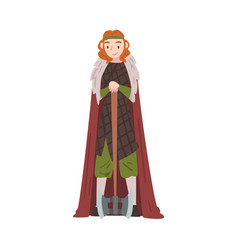 beautiful girl viking with battle axe medieval vector image