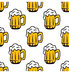 Beer tankards or mugs seamless pattern vector