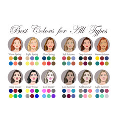 Best colors for 12 types of female appearance vector