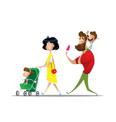 big family on the walk on holiday vector image