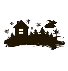 black and white christmas silhouette vector image