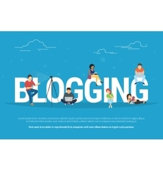 blogging concept young people vector image