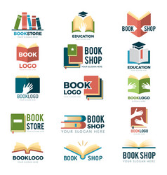 book symbols reading club identity stylized vector image