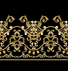 Border with golden baroque elements vector