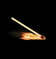 burning matchstick on a black background vector image