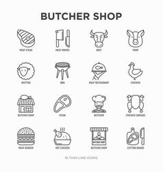 butcher shop thin line icons set vector image