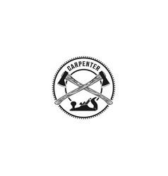 Capenter industry logo design - carpentry plane vector