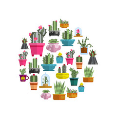 cartoon cactuses and succulents in circle on white vector image
