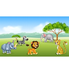 Cartoon happy animal africa vector