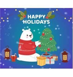 Christmas cartoon new year polar bear in winter vector