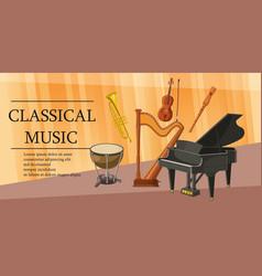 classical music banner horizontal cartoon style vector image