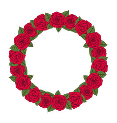 colored round wreath red roses vector image