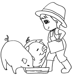 Coloring book child feeding pig vector
