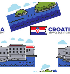 croatia travel destination seamless pattern vector image