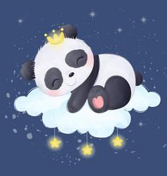 Cute baby panda sleeping vector
