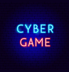 cyber game neon text vector image