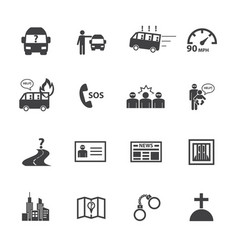 dangers public bus icons set flat design vector image