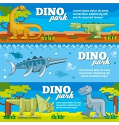 Dinosaur horizontal banners set in flat design vector image