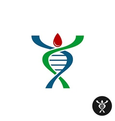 DNA spiral shaped man silhouette logo Red blood vector image