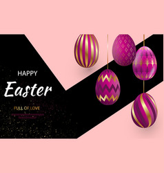 easter card with gold ornate pi eggs on a dark vector image
