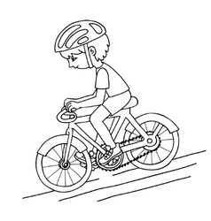 Edit boy on a bicycle contur drawing vector