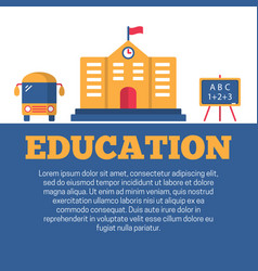 Education flat poster vector