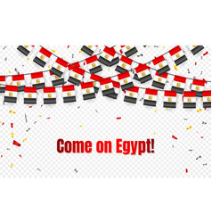 egypt garland flag with confetti on transparent vector image