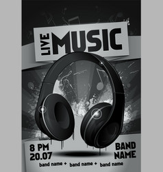 electronic music festival flyer with headphones vector image
