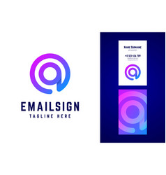 Email sign logo and business card template vector