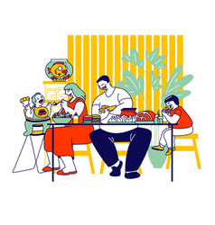 family unhealthy eating concept fatty mother vector image