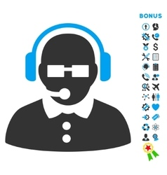 Female Operator Flat Icon with Bonus vector image