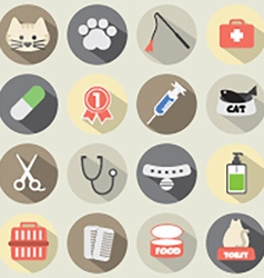 Flat Design Cat Icon Set vector