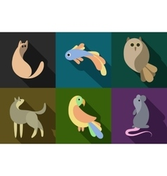 flat style animals set vector image