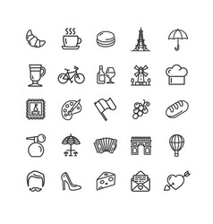 france travel signs black thin line icon set vector image