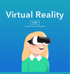 girl wearing virtual reality glasses vector image