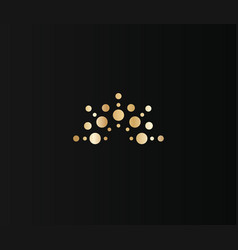 golden crown dots icon on black background vector image