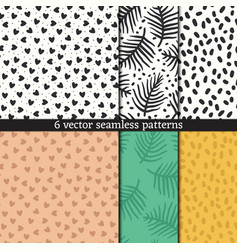 hand drawn seamless pattern set vector image