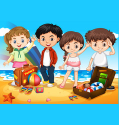 Happy children on the beach vector