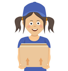 happy teenager courier holding a cardboard box vector image