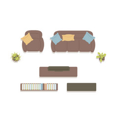 Icons furniture top view for home living room vector