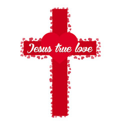 Jesus true love cross heart love vector