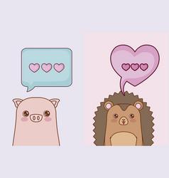 kawaii animals and love design vector image
