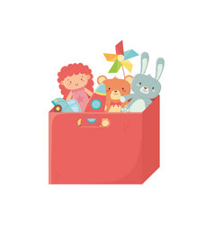 kids toy filled red box with toys storage vector image
