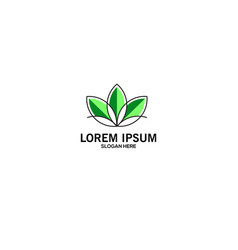 logo green lotus flower simple and modern vector image