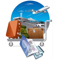 luggage on trolley in airport vector image