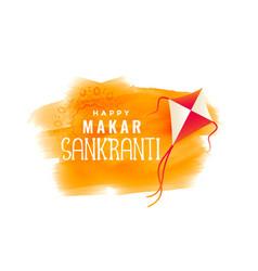 Makar sankranti watercolor banner with flying kite vector