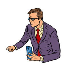 meeting businessman with smartphone vector image