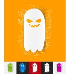 Monster paper sticker with hand drawn elements vector