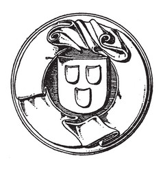 Motto label is a found on the seal of the town vector